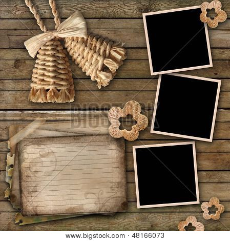 Blank Instant Photo Frames, Old Paper And Bell On Old Wooden Background