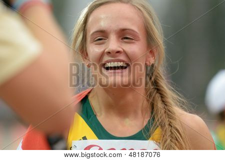 DONETSK, UKRAINE - JULY 13: Helene Swanepoel of South Africa after she finished the first in the final of 400 m hurdles during 8th IAAF World Youth Championships in Donetsk, Ukraine on July 13, 2013