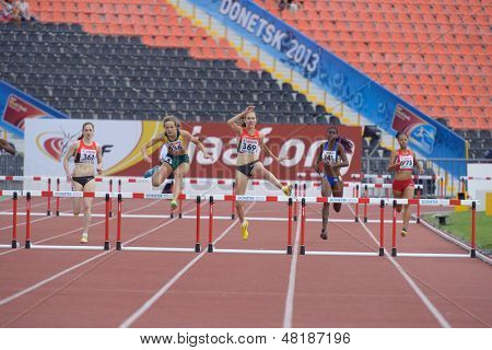 DONETSK, UKRAINE - JULY 13: Girls competes in the final of 400 m hurdles during 8th IAAF World Youth Championships in Donetsk, Ukraine on July 13, 2013