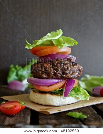 Burger stacked with Salad