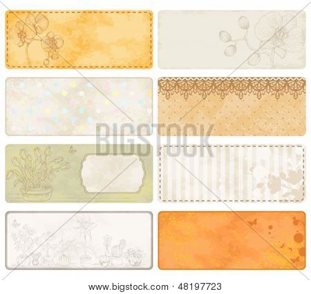 Collection of aged paper with flowers with free space for your text.