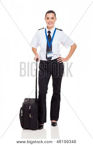 beautiful woman airline pilot with briefcase standing on white background