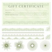 Gift certificate (voucher) template with guilloche pattern (watermarks), borders and design elements. Background usable for coupon, banknote, diploma, money design, currency, check (cheque) etc. Vector in green color poster