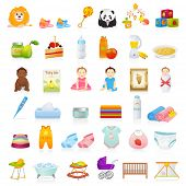 Big Vector set: Baby icons (newborn). Isolated on white background baby stuff (clothes, food, toys, books, diapers, dummy, napkins). Detailed illustrations poster