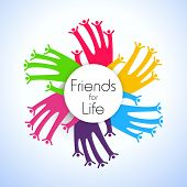 Happy friendship day background with colorful handprints poster