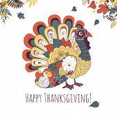Happy Thanksgiving beautiful turkey card poster