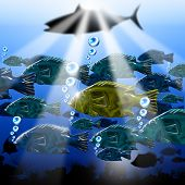 Landscape of the sea abyss with stylized fishes algae and sea urchins poster