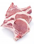 fresh domestic pork chops isolated on white poster