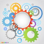 Color different gear wheels abstract background poster