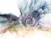 Design composed of bursting strands of fractal smoke and paint as a metaphor on the subject of design science technology and creativity poster