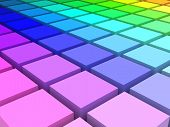 3d render of colored blocks in HLS space arranged in a grid poster
