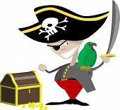 a pirate with a parrot and chest of treasure. poster