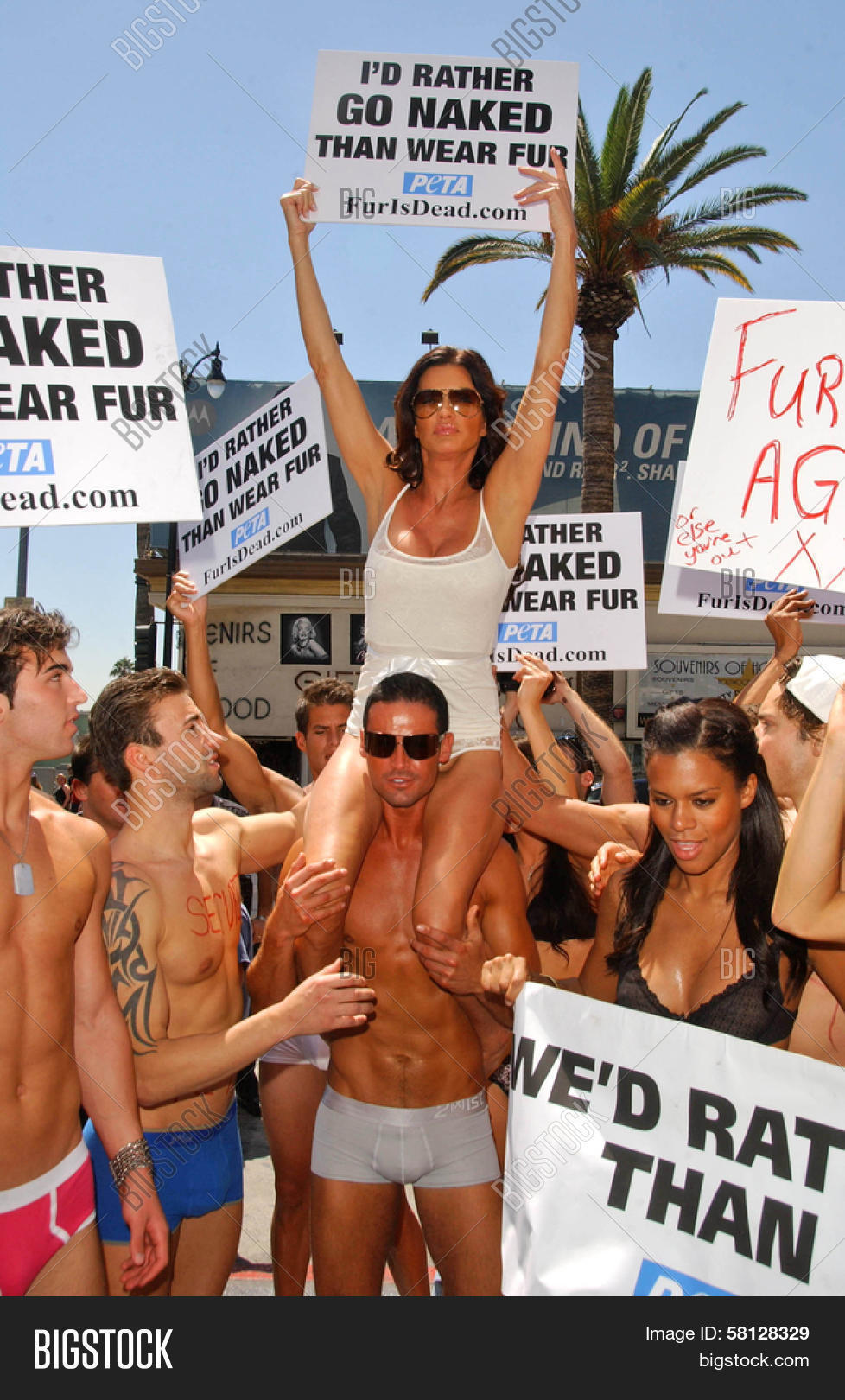 Janice Dickinson with the Janice Dickinson Modeling Agency showing their  support for the PETA