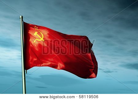 Soviet Union (1922-1991) flag waving in the evening poster