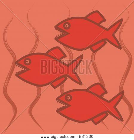 three piranhas illustration poster