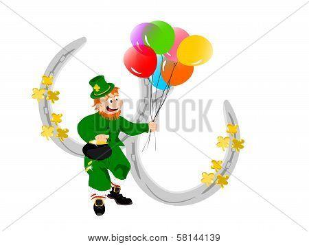 leprechaun balloons silver horseshoes