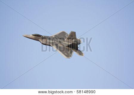 DUBAI - NOV 19: F22 Raptor on sky during the 11th edition of Dubai Air Show held on Nov 19th 2009