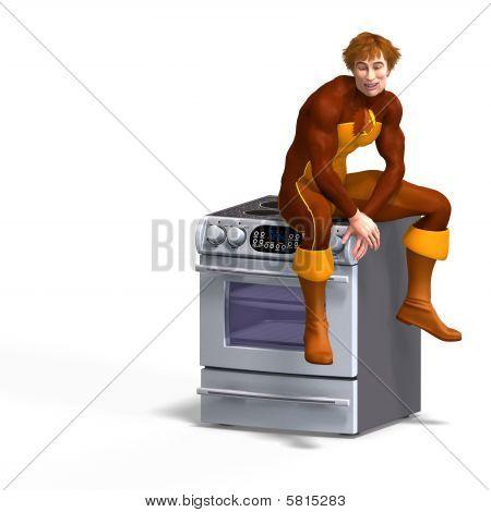 Superhero Sits On An Oven