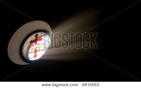 Oval Stained Glass Window With Santiago Cross