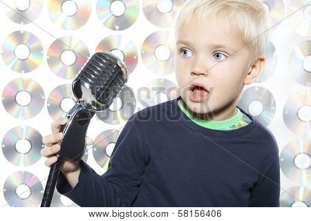 Little boy singing