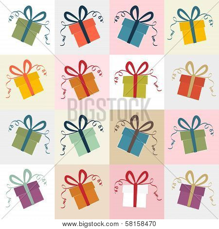 Vector Present Boxes Retro Background