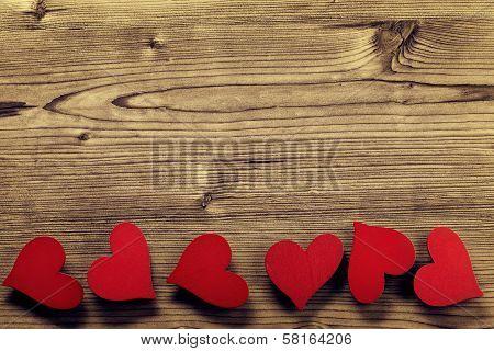 Valentines Day frame - wood background
