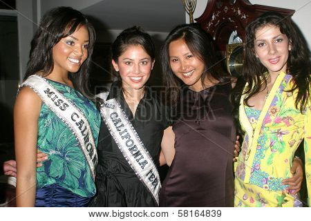 Megan Tandy and Kylee Lin with Ning Ning Zhang and guest at the Fashion TV 10th Anniversary Party. Private Estate, Beverly Hills, CA. 04-28-07