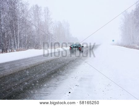 Car In Winter On Way