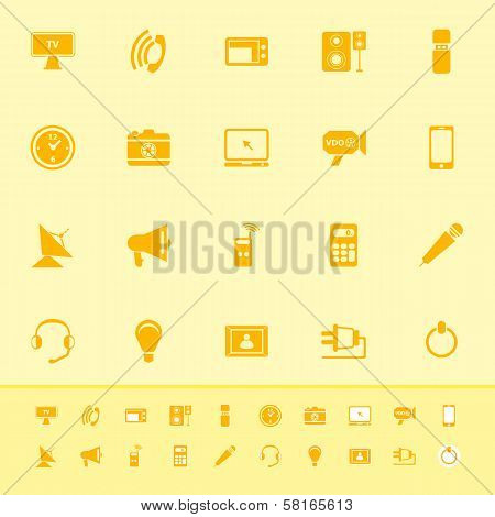 Electronic Color Icon On Yellow Background
