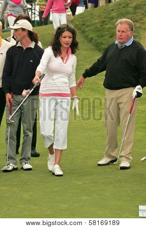 Kenny G with Catherine Zeta-Jones and Martin Sheen at The 9th Annual Michael Douglas and Friends Celebrity Golf Event. Trump National Golf Club, Rancho Palos Verdes, CA. 04-29-07