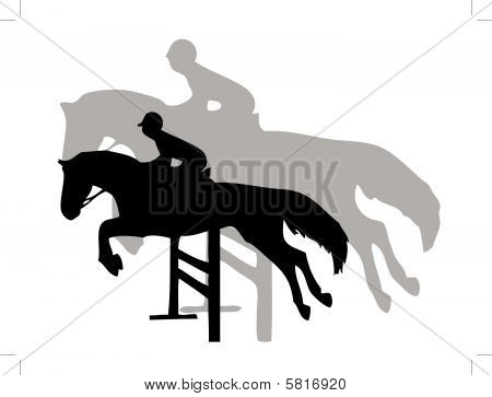Horse jumping with shadow on the background poster
