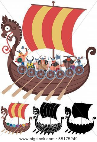 Viking Ship On White