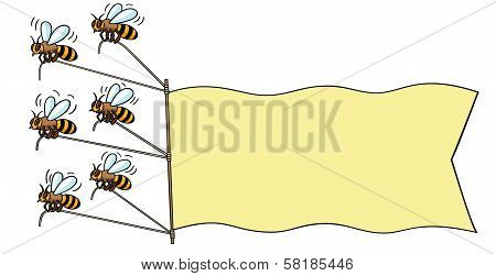 Bees with banner.
