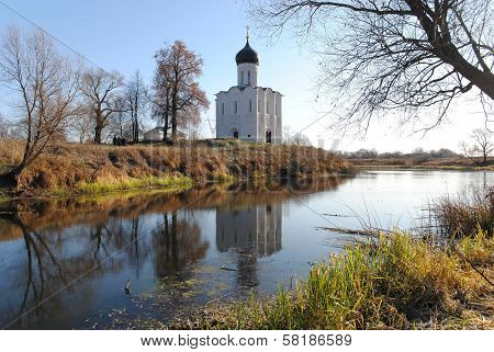 The orthodox Christian temple on the river bank