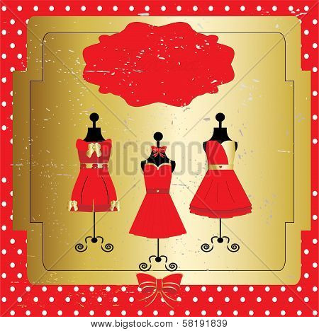 Dresses on a mannequin. Vector
