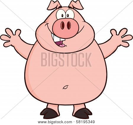 Happy Pig Cartoon Mascot Character Open Arms For Hugging  Illustration Isolated on white poster