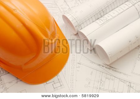 Orange helmet on the house project construction idea