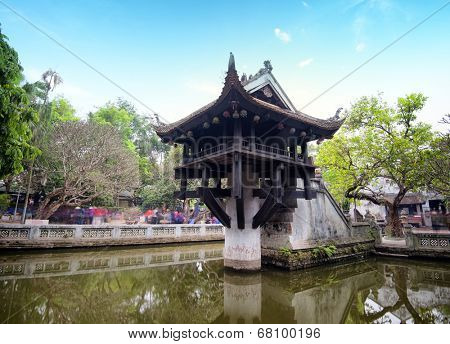 Hanoi, Vietnam - One Pillar Pagoda. Famous Buddhist temple and popular tourist attraction. Asian landmark