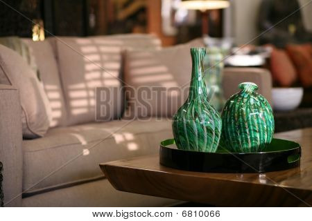Handblown Glass Vases In An Urban Living Room