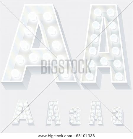 Vector illustration of unusual white lamp alphabet for light board. Letter a
