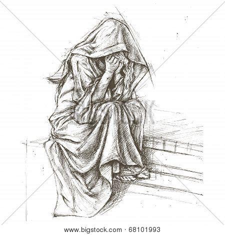 Cemetery Angel Sculpture sketch line