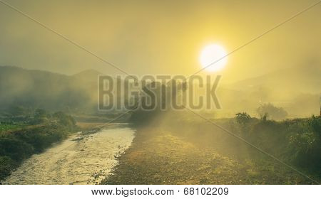 Sunrise Landscape Scene On Field