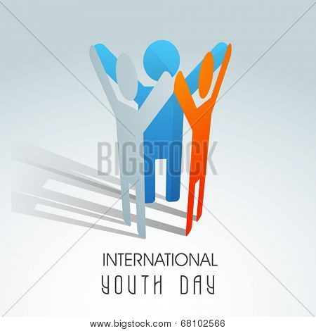 Symbol of young peoples joining hands together on international youth day celebrations.