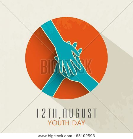 Stylish sticky design with joining hands together on orange background on beige background for international youth day.