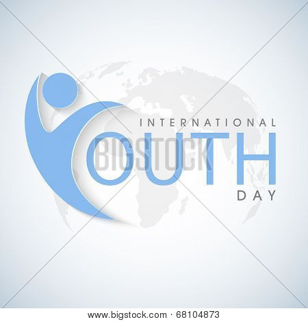 Happy young man on world map background for international youth day.