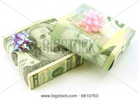 American and Canadian dollar wrapped gifts