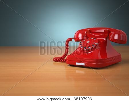 Vintage phone on green background. Hotline support concept. 3d