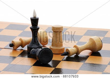 chessboard with several chessmen