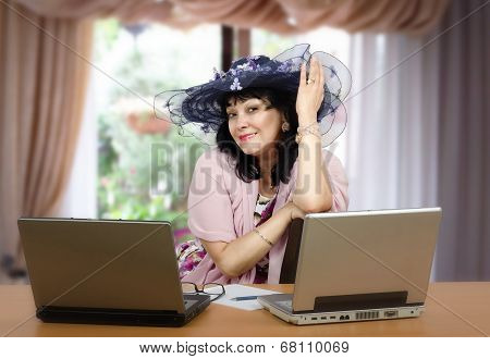Online Matchmaker Posing In The Office