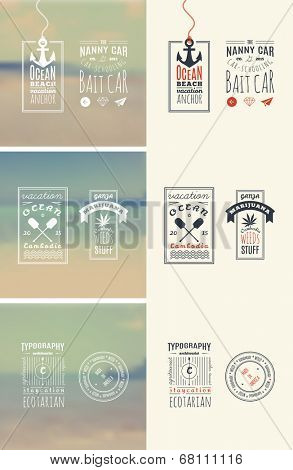 Trendy Retro Vintage Insignias Bundle   Retro hand drawn elements for calligraphic designs   hipster, nomcore style   Vintage ornaments   old labels   vector set